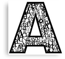 Letter A, white background Canvas Print