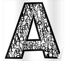 Letter A, white background Poster