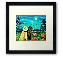 Dogs In Pumpkin Patch Framed Print