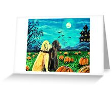 Dogs In Pumpkin Patch Greeting Card