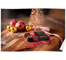 Christmas table with brownies Poster