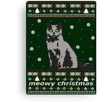 cat ugly christmas sweater Canvas Print