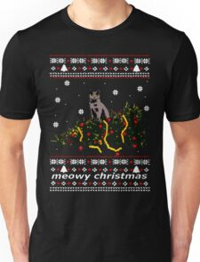 ugly sweater - christmas tree knocked down by a cat Unisex T-Shirt