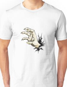 Grabbing hand with claws raised out of fracture.   Unisex T-Shirt