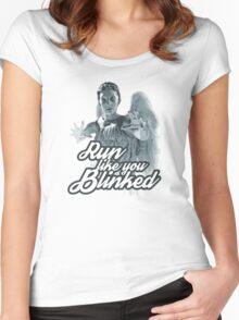 Weeping Angel Run Like You Blinked Doctor Who Women's Fitted Scoop T-Shirt