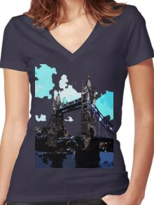 London Tower Bridge UK Women's Fitted V-Neck T-Shirt