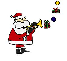 Funny Christmas Santa Playing Trumpet by naturesfancy