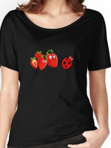 funny strawberries & cute lady bug graphic art Women's Relaxed Fit T-Shirt