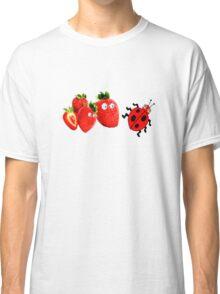 funny strawberries & cute lady bug graphic art Classic T-Shirt