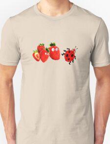 funny strawberries & cute lady bug graphic art T-Shirt