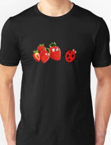 funny  strawberries & cute lady bug graphic art T-Shirt