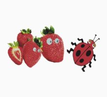 funny strawberries & cute lady bug graphic art Kids Clothes