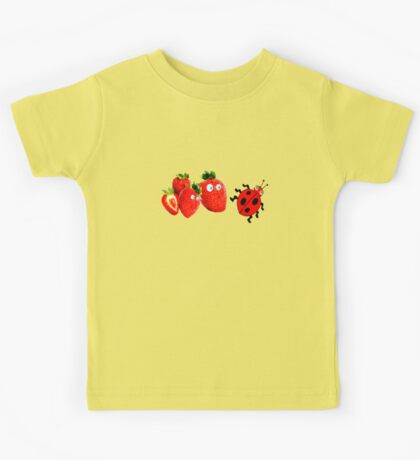 funny strawberries & cute lady bug graphic art Kids Tee