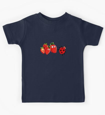 funny strawberries & cute lady bug graphic art Kids Tee