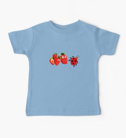 funny strawberries & cute lady bug graphic art Baby Tee