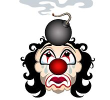 Sad clown with the lit bomb on his head.  by devaleta