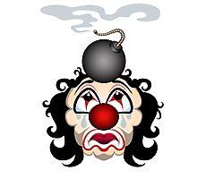 Sad clown with the lit bomb on his head.  Photographic Print