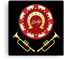 Horseshoe Casino chip with lettering Lucky and two trumpets Canvas Print