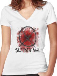 Slenderman blood spatter and symbol Women's Fitted V-Neck T-Shirt