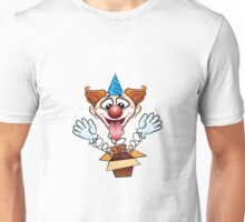 laugthing clown jumps out of surprised box.  Unisex T-Shirt