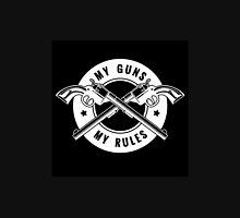Two crossed revolvers and lettering My guns my rules. Only free font used.   Unisex T-Shirt