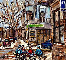 HOCKEY GAME NEAR BUS STOP IN POINTE ST.CHARLES WITH CONNIE'S PIZZA MONTREAL WINTER HOCKEY SCENE by Carole  Spandau