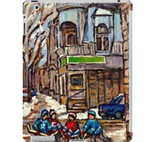HOCKEY GAME NEAR BUS STOP IN POINTE ST.CHARLES WITH CONNIE'S PIZZA MONTREAL WINTER HOCKEY SCENE iPad Case/Skin