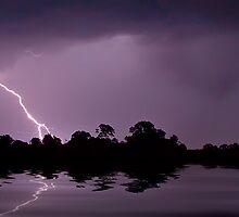 Reflections Of Lightning Panorama by Shannon Rogers