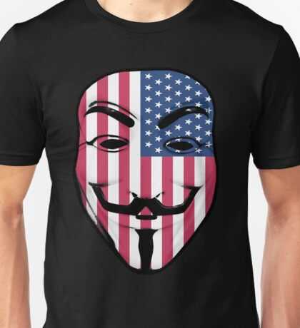 Guy Fawkes American Flag Unisex T-Shirt