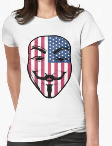 Guy Fawkes American Flag Womens Fitted T-Shirt