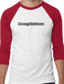Merry Christmas - Hashtag - Black & White Men's Baseball ¾ T-Shirt