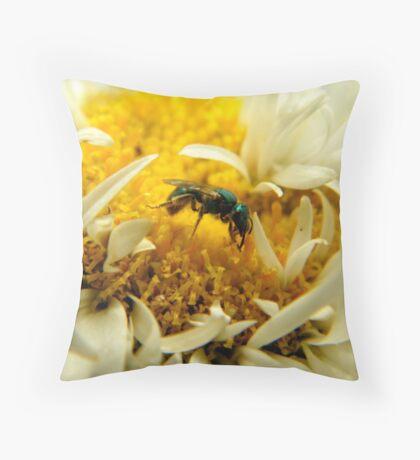 Little Green Bee Throw Pillow