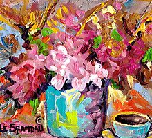 BEAUTIFUL ABSTRACT FLORAL BOUQUET WITH COFFEE CUP ORIGINAL PAINTING FOR SALE by Carole  Spandau