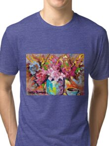BEAUTIFUL ABSTRACT FLORAL BOUQUET WITH COFFEE CUP ORIGINAL PAINTING FOR SALE Tri-blend T-Shirt
