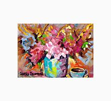 BEAUTIFUL ABSTRACT FLORAL BOUQUET WITH COFFEE CUP ORIGINAL PAINTING FOR SALE Unisex T-Shirt