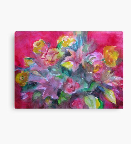 Flower bouquet deep pink original watercolour  Canvas Print