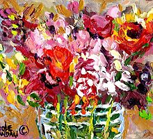 ABSTRACT FLORAL ARRANGEMENT IN GLASS VASE ORIGINAL PAINTING FOR SALE by Carole  Spandau
