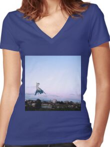 Latios blue sky Women's Fitted V-Neck T-Shirt
