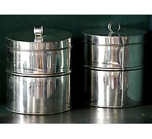 Shiny Old Tin Cans Photographic Print