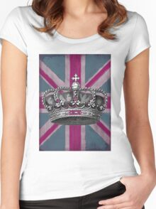 Union Jack and Crown Women's Fitted Scoop T-Shirt