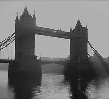 London tower bridge in the fog by EblePhilippe