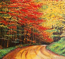 Forest Road Oil Painting by Manuel Fernandes