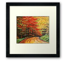 Forest Road Oil Painting Framed Print
