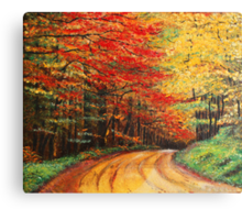 Forest Road Oil Painting Canvas Print