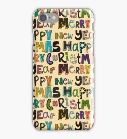 cream merry christmas and happy new year iPhone Case/Skin