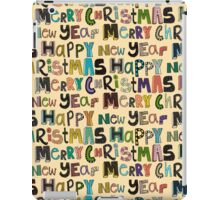 cream merry christmas and happy new year iPad Case/Skin