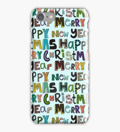 palest aqua merry christmas and happy new year iPhone Case/Skin