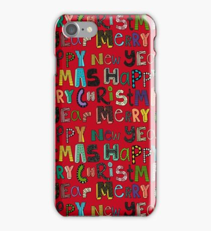 red merry christmas and happy new year iPhone Case/Skin