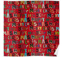 red merry christmas and happy new year Poster