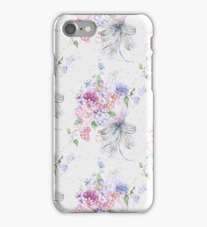 Elegant pink vintage roses ribbon floral pattern  iPhone Case/Skin